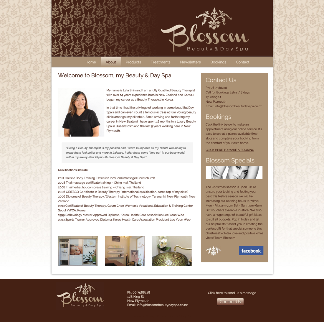 Blossom Beauty Day Spa about page design and photography portrait