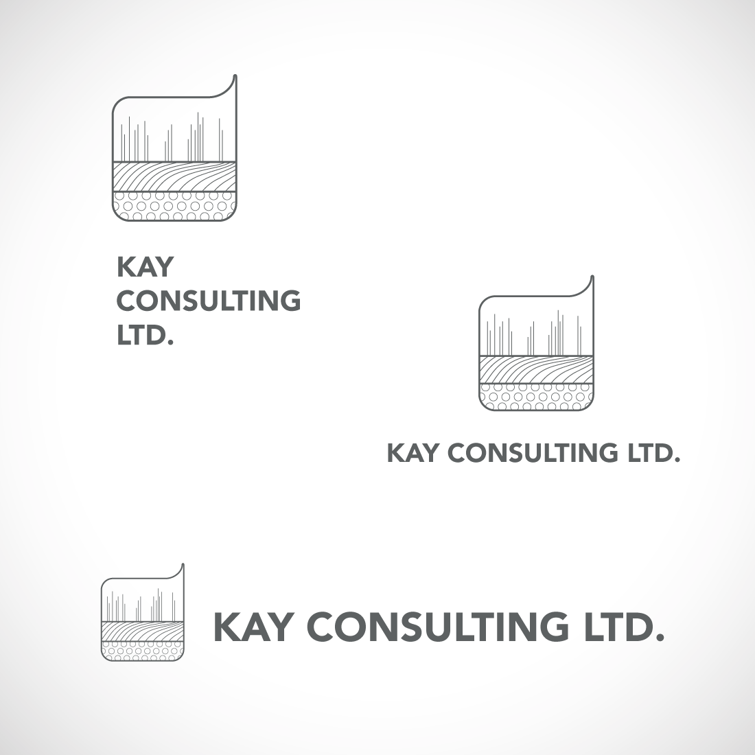 Kay Consulting greyscale logo designs