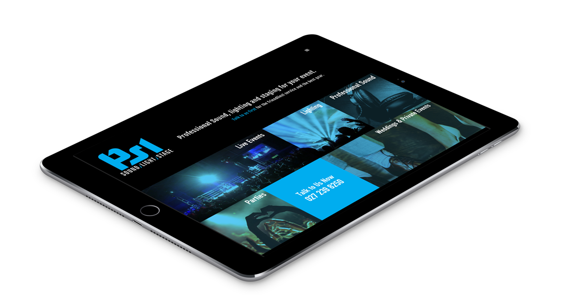 PSL Productions tablet responsive website design