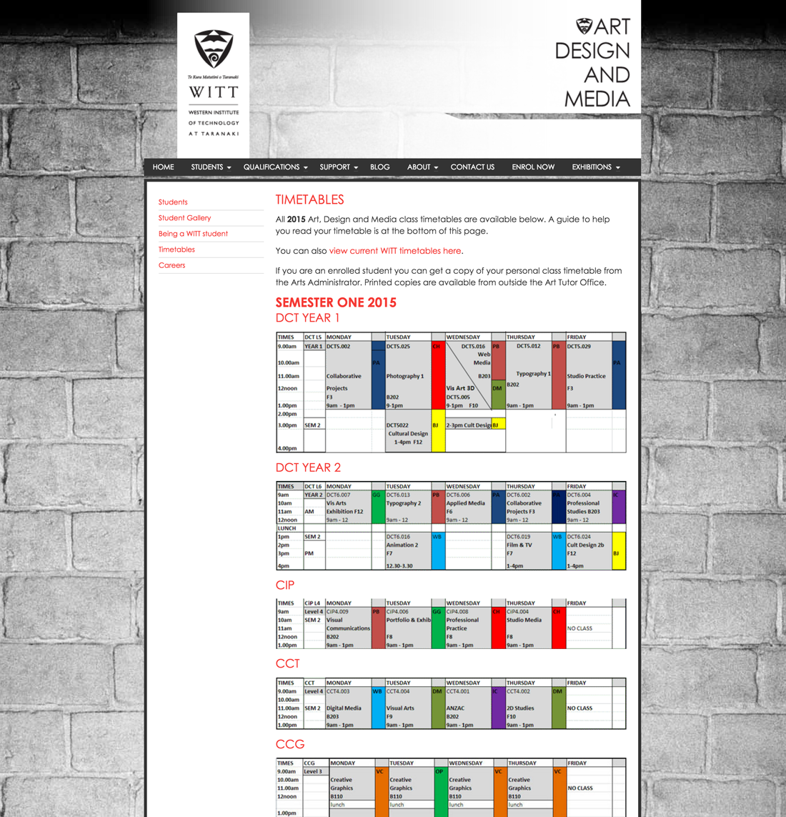 WITT Art timetables page
