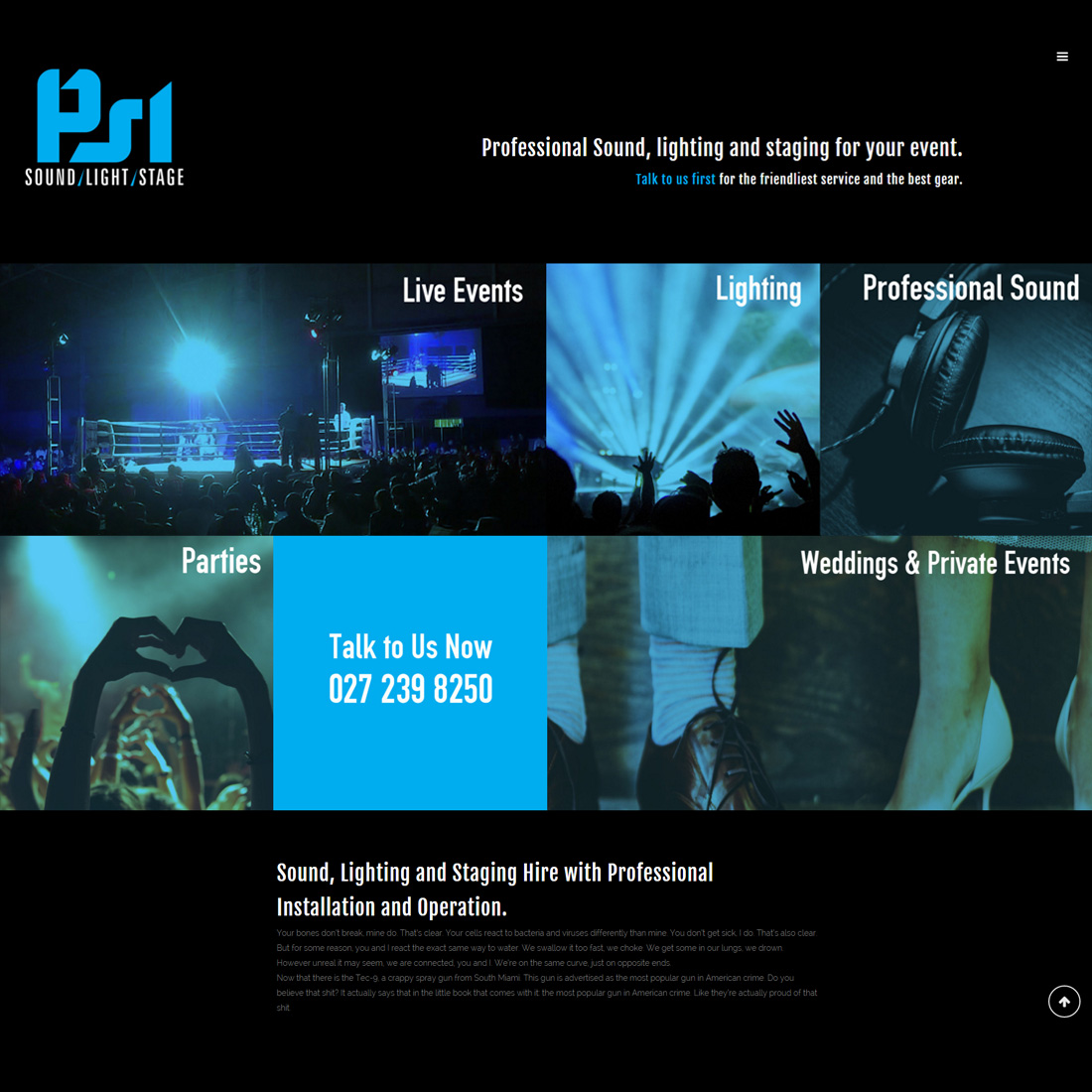 PSL Productions homepage design
